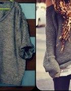 Sweter ZARA OVERSIZE szary ciepły gruby M 38