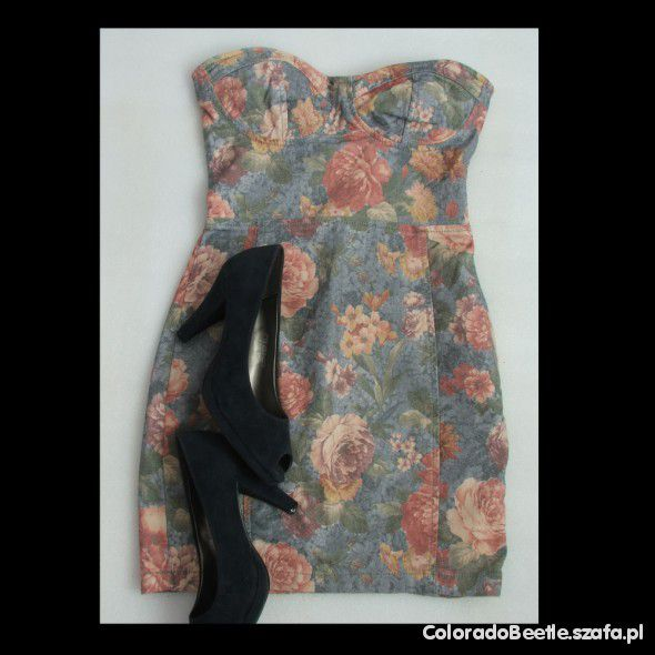 Sukienka bandażowa floral Topshop