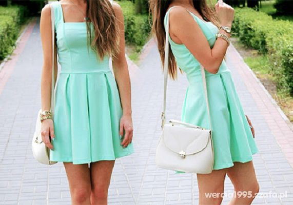 Mój styl Prześliczna miętowa sukienka