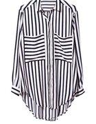 czarno biała koszula paski asymetryczna