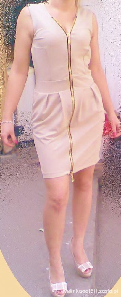 Eleganckie beżowa zip