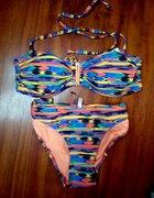 strój kąpielowy bikini aztec zip neon