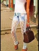 SPODNIE Jeans koronka