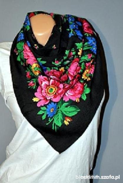 Chusty i apaszki Chusta kwiaty folk HIT