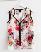 Biała bluzka koszula floral z czarną lamówką H&M