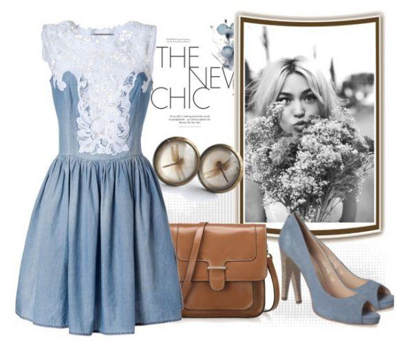 Romantyczne Niebieska sukienka z koronkową wstawką