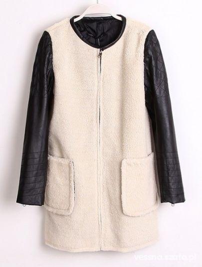 płaszcz skórzany pikowane rękawy 36