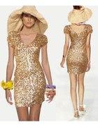cekinowa nowa sukienka złota 38 M