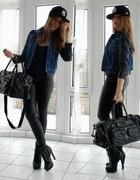 Leather jeans & full cap...