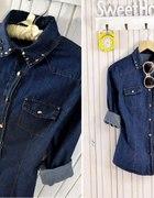 Vintage ciemna koszula jeans