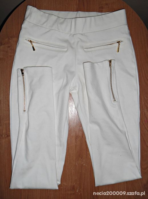 Legginsy białe leginssy zip xs