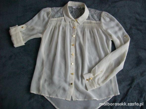 New Look koszula bluzka mgiełka koronka złote guzi