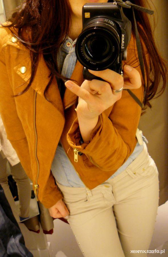 Mój styl H&M carmel beż jeans