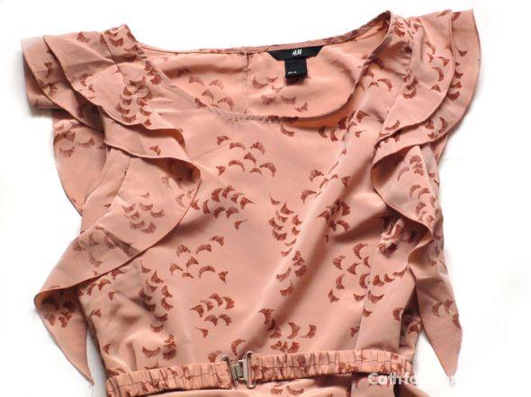 Bluzki Bluzka H&M nude z falbankami rozmiar 34