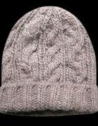 Wełniana beżowo szara czapka diverse...