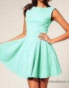 sukienka rozkloszowana Audrey miętowa lub kobaltow...