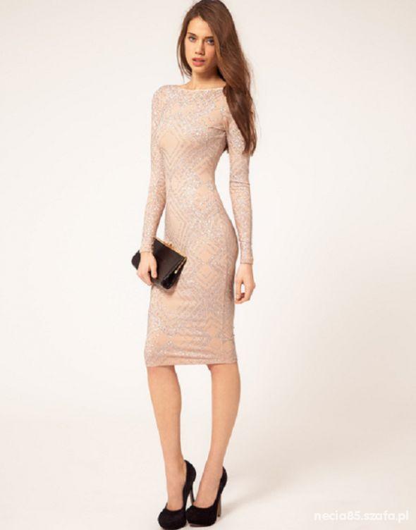 Eleganckie Piękna sukienka bodycon nude ASOS