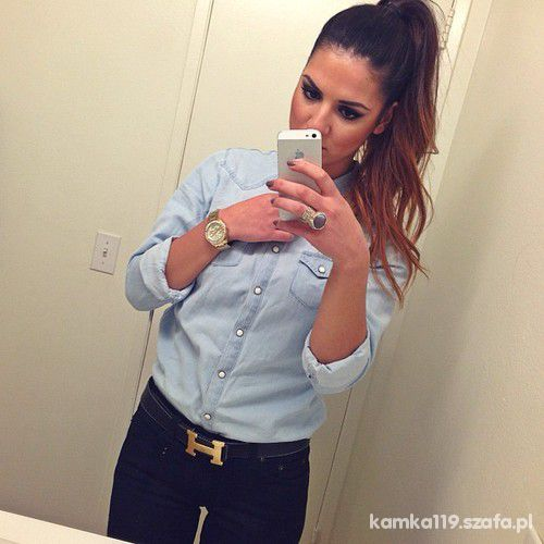pasek hermes dżinsowa koszula
