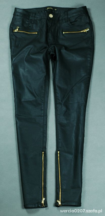 Woskowane spodnie zipy