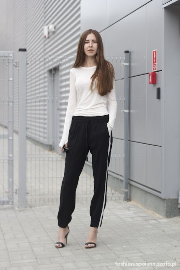 spodnie na gumce z białym pasem w Spodnie Szafa.pl