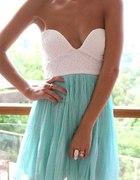 biało miętowa gorsetowa zwiewna sukienka