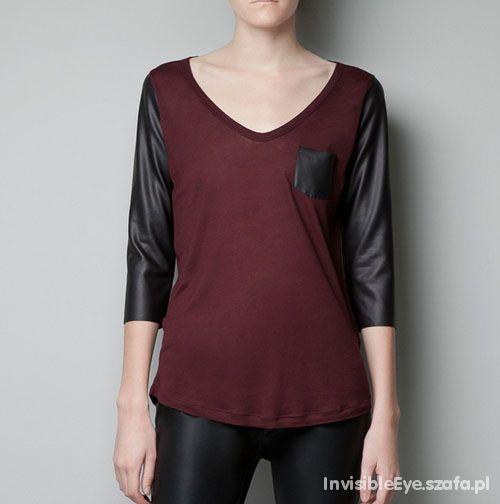 ZARA bluzka burgundowa bordo skórzane rękawy