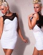 piękna koronkowa mini sukienka WHITE