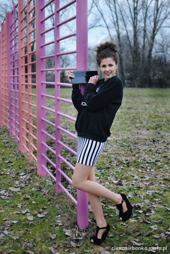 Blogerek Bluza paski i koturny