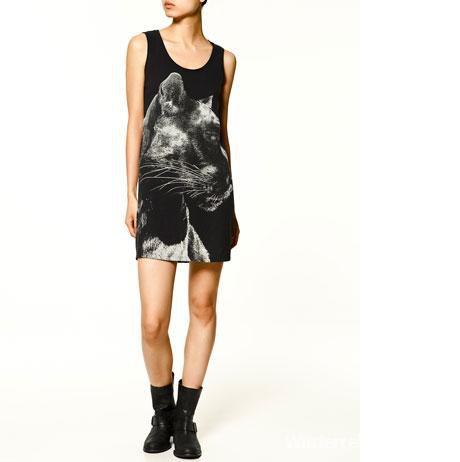 Sukienka Zara pantera black panther kot wild