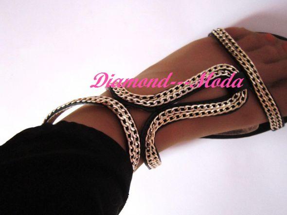 Sandały złote lancuszki