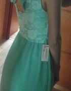 mietowa sukienka kokarda