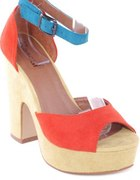 Darcey Orange Sandals kolorowe koturny 39 fleq
