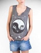 Stradivarius koszulka z nadrukiem kot ying yang...