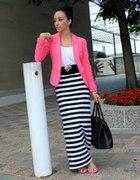 Maxi dzianinowa spódnica w paski Black&White