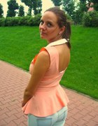 morelowa brzoskwiniowa bluzka baskinka...