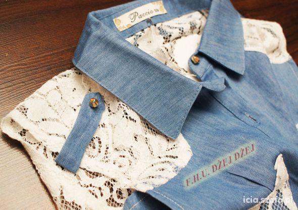 Jeansowa bluzka koszula z koronką