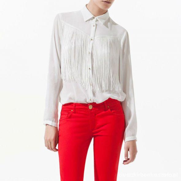 Koszule Biała Koszula Frędzle Ćwieki Zara