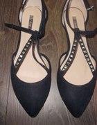 Nowe czarne balerinki z dżetami