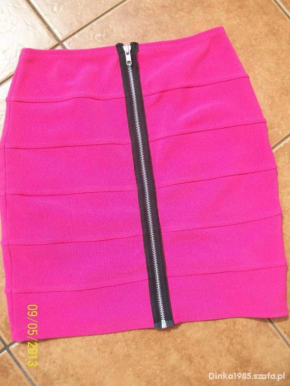 Bandażowa neon fluo spódnica mini tuba zip fuksja...