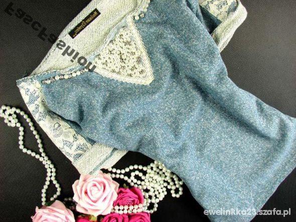 Sweterek koronka perły xs s