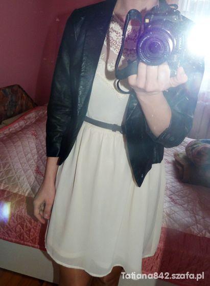 Eleganckie sukienka i skórzana kurteczka