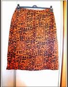 Orange Aztec Print Skirt...