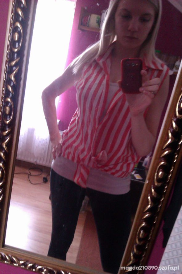 Koszula w paski moja przeróbka na wiązaną