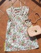 Sukienka na szeleczkach kokardki floral vintage