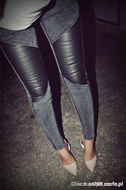 Spodnie jeansy ze wstawkami skórzanymi