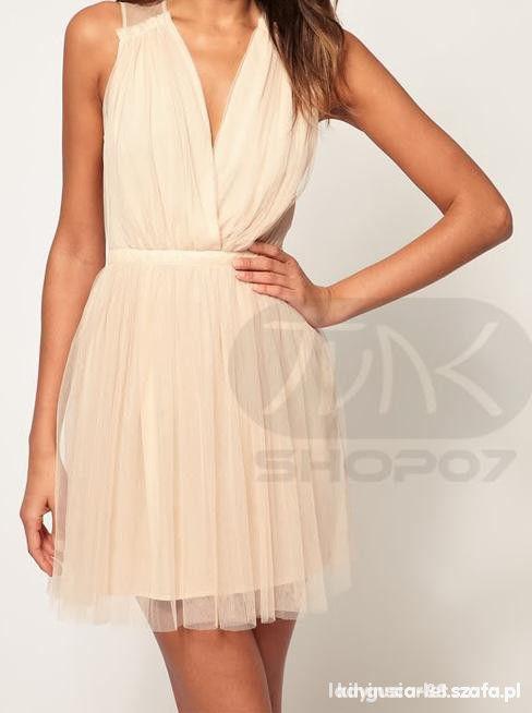 Asos Bezowa Sukienka Wesele Retro Kremowa Grecka W Suknie I Sukienki