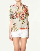 Koszula Zara 36 nadruk owoce szyfon