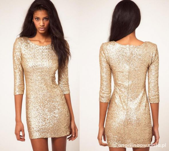 sukienka cekinowa złota ASOS