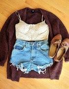 cudowny sweter over size spodenki z wysokim st...
