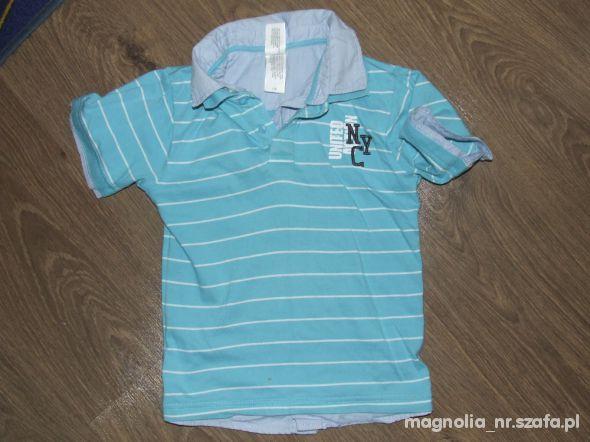 Koszulki, podkoszulki Koszulka w paski z kolnierzykiem